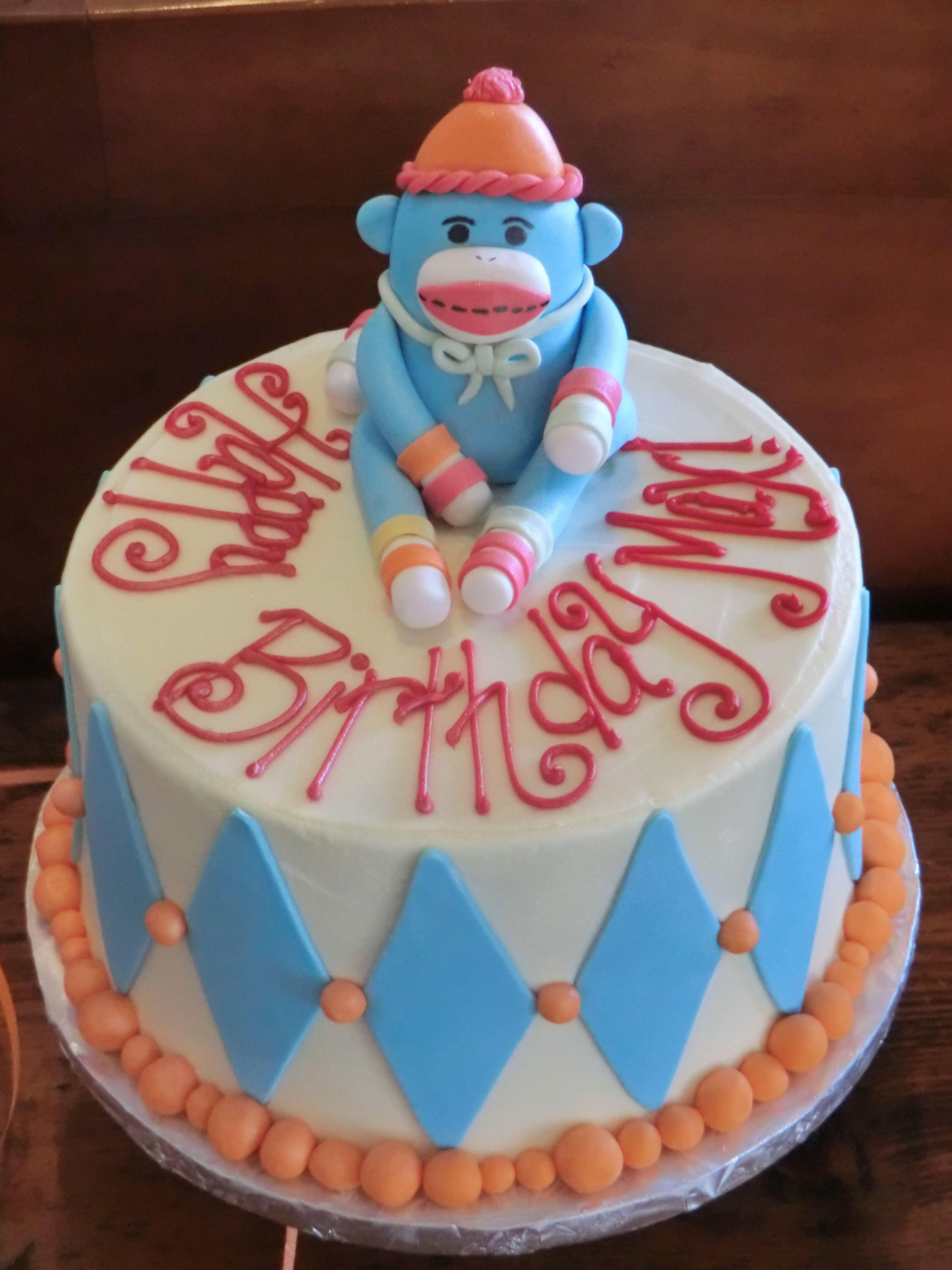 Sock monkey cake for boy | Cookie decorating, Cake ...