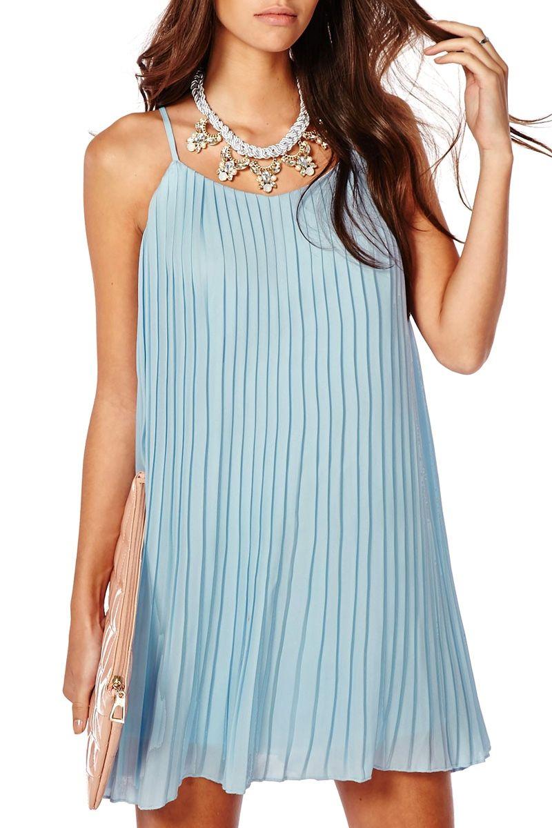 Pleated Spaghetti Straps Chiffon Dress