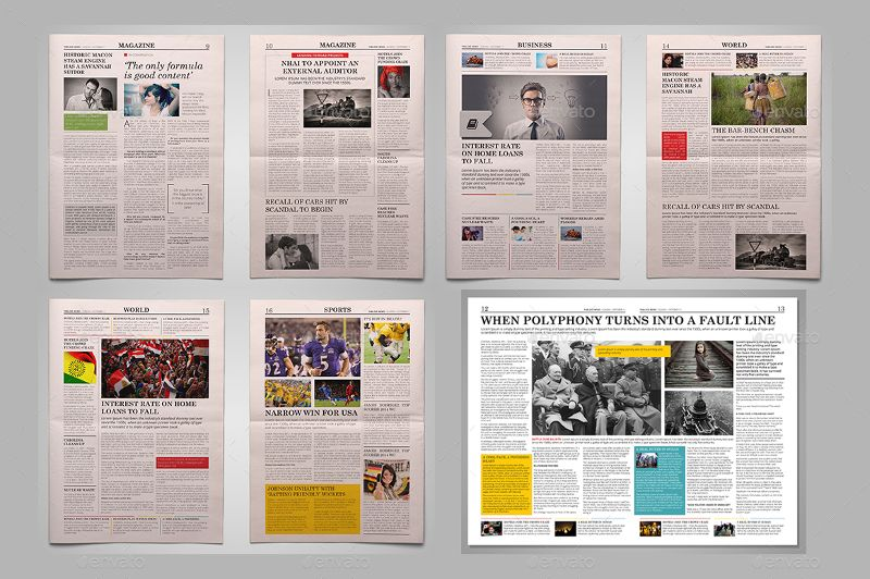 20 Printable Modern Newspaper Layouts Newspaper Layout Book