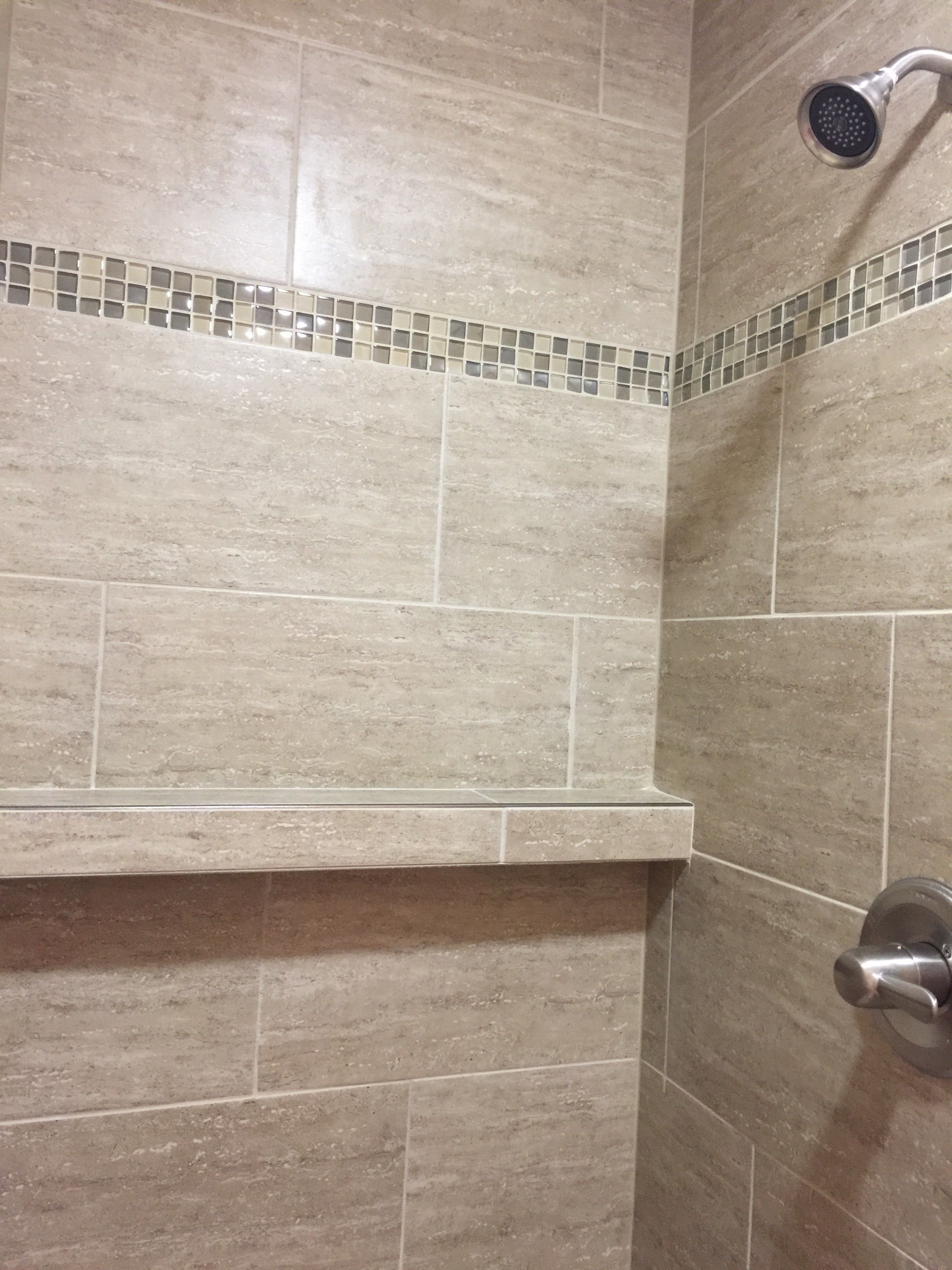 custom tiled shower with accent tile strip | Design by Dennis ...
