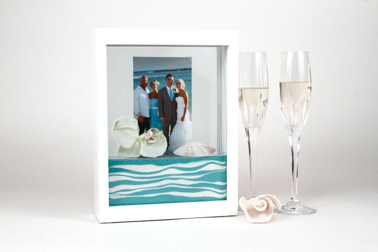 Sand Ceremony frame ordered with white, blue and purple sand | My ...