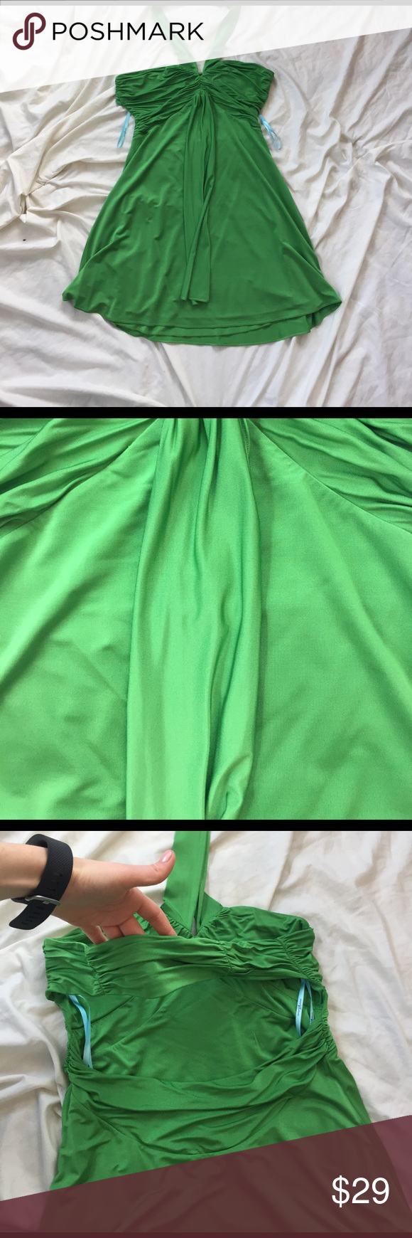 Marciano Dress - Medium Beautiful Green 'Jersey' material halter with open back back design. There is a piece of materiel that goes across the back of the dress for more security as well. See photos! Fun, sexy dress! Marciano Dresses