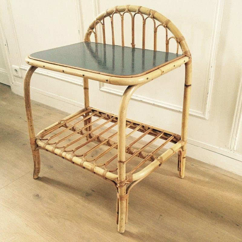 Table Rotin D Occasion Vintage Design Scandinave Industriel Ancien Mobilier De Salon Petit Meuble Petite Table D Appoint