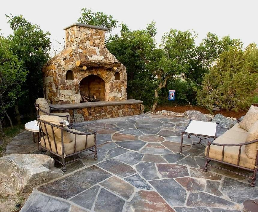 Natural Stone Fireplace With Log Mantle Has Low Voltage
