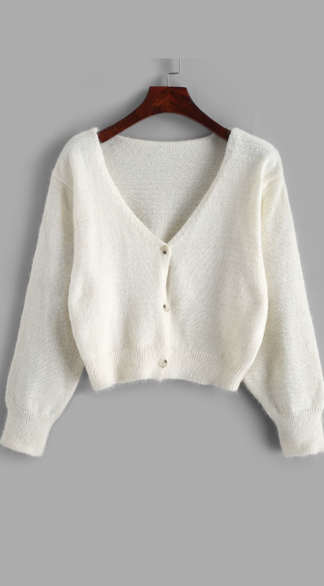 Fuzzy Button Up V Neck Cropped Cardigan Type: Cardigans