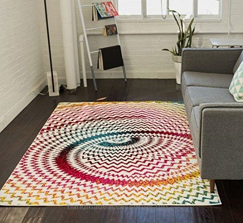 Warp Multi Chevron Red Blue Yellow Green Zigzag Modern Abstract Area Rug X Easy Clean Stain