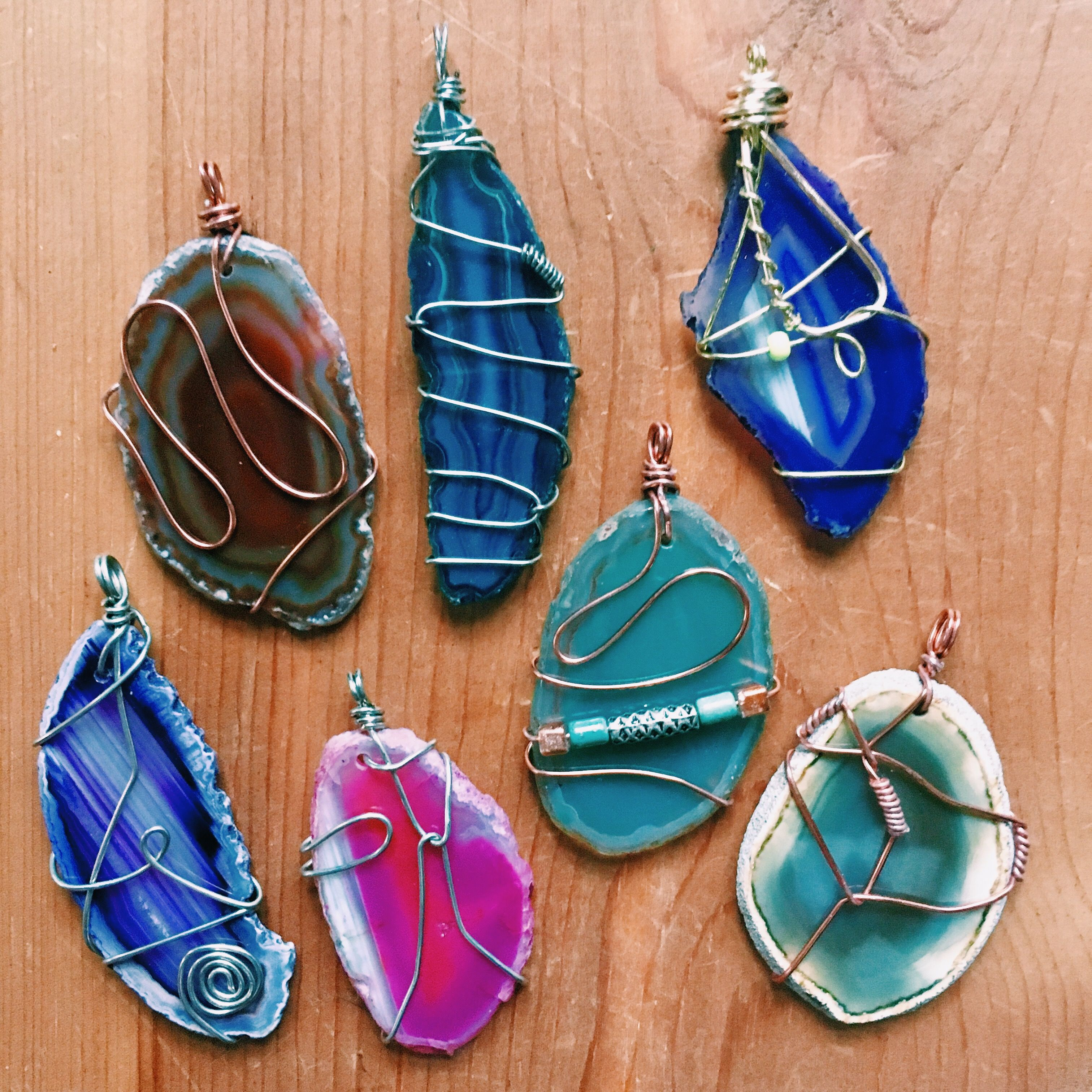 Agate Slice Pendant Necklace  Wire-wrapped Boho Style Necklace  Crystal Pendant