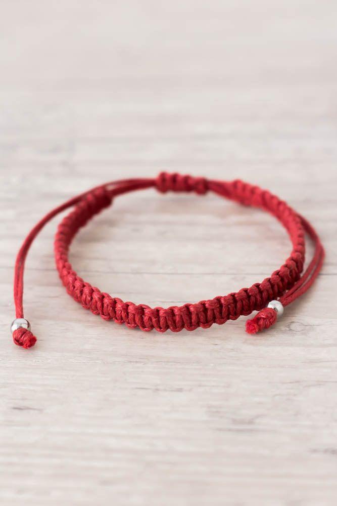 Red String Bracelet Protection Good Luck Friendship Yoga Kabbalah Macrame By Elvishthings