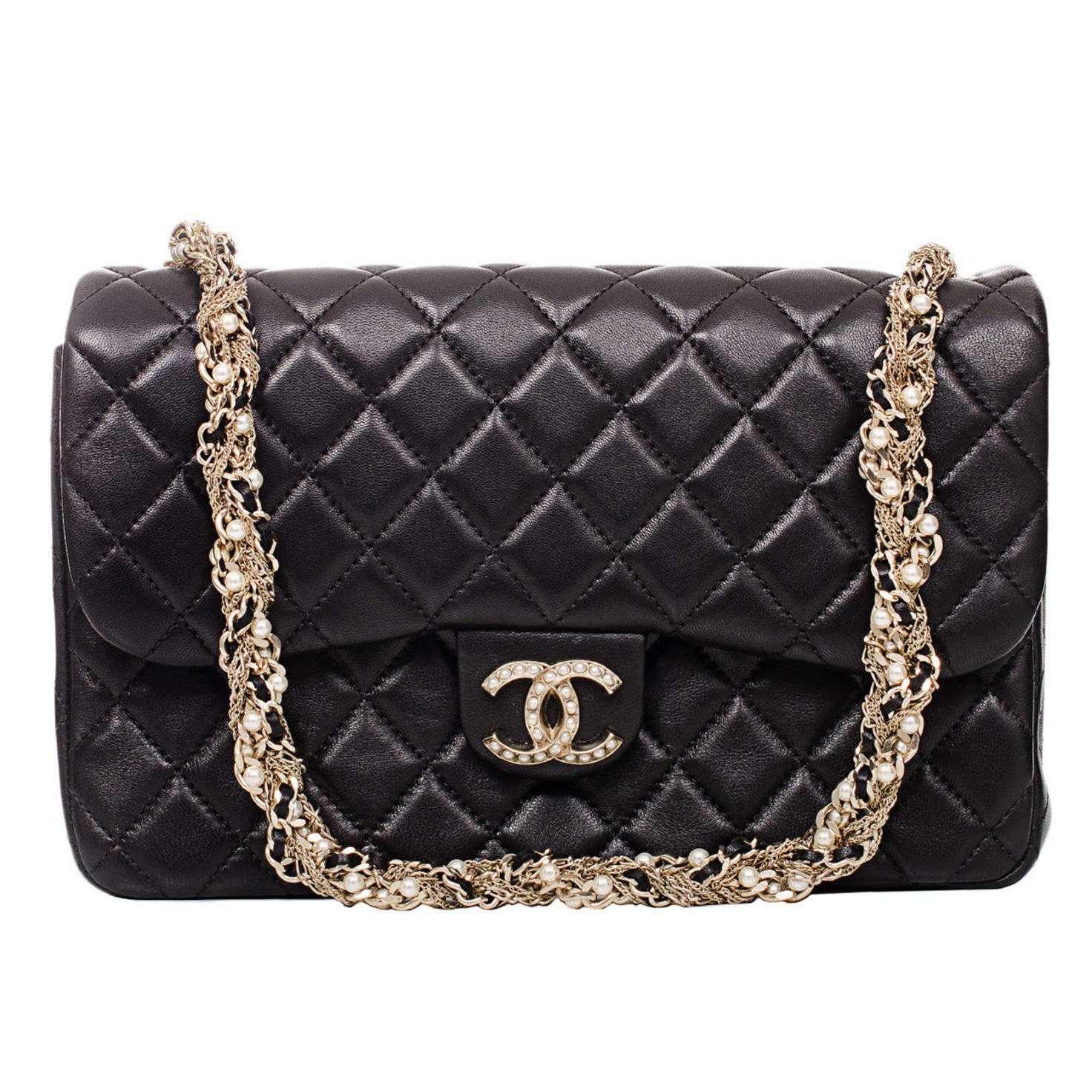 2f9199df5d97 Chanel Black Lambskin Westminster Pearl Flap Bag