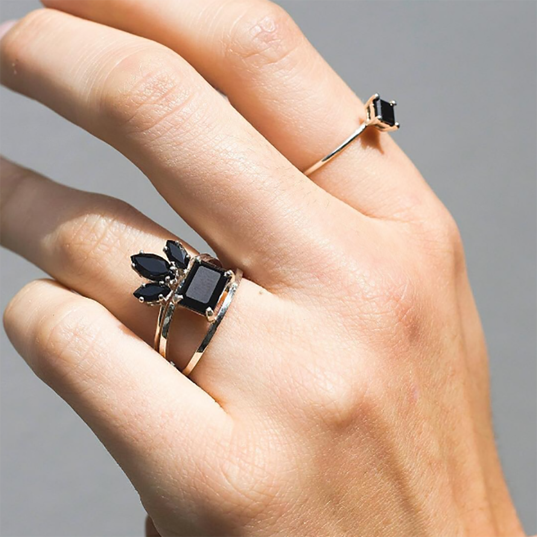 FESTIVAL BRIDES | 15 Engagement Ring Instagram Accounts That You Need to Know About, incredible black diamond stack by Natalie Marie