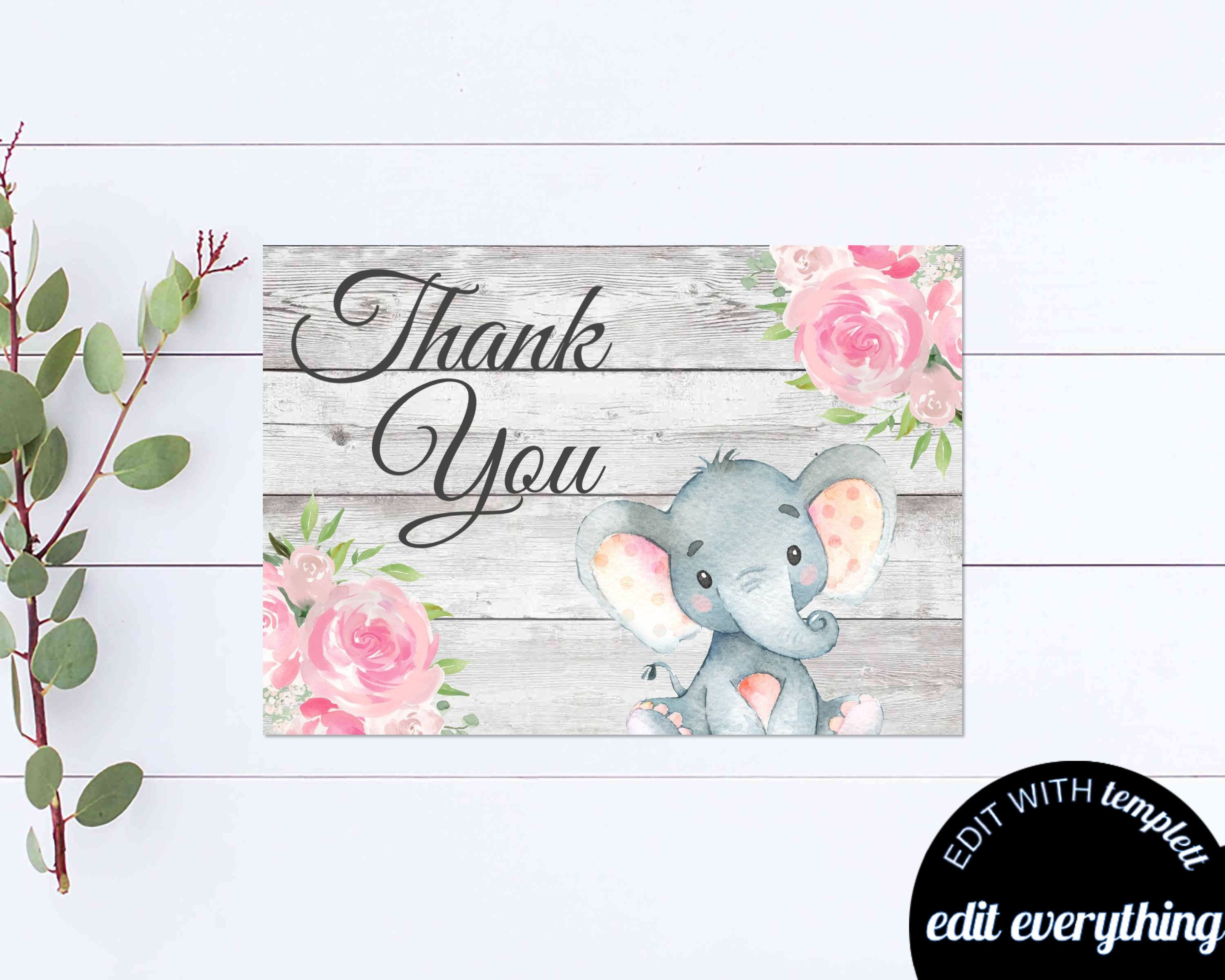 Elephant Thank You Card Thank You Template Printable Pink Etsy Thank You Cards Baby Shower Thank You Cards
