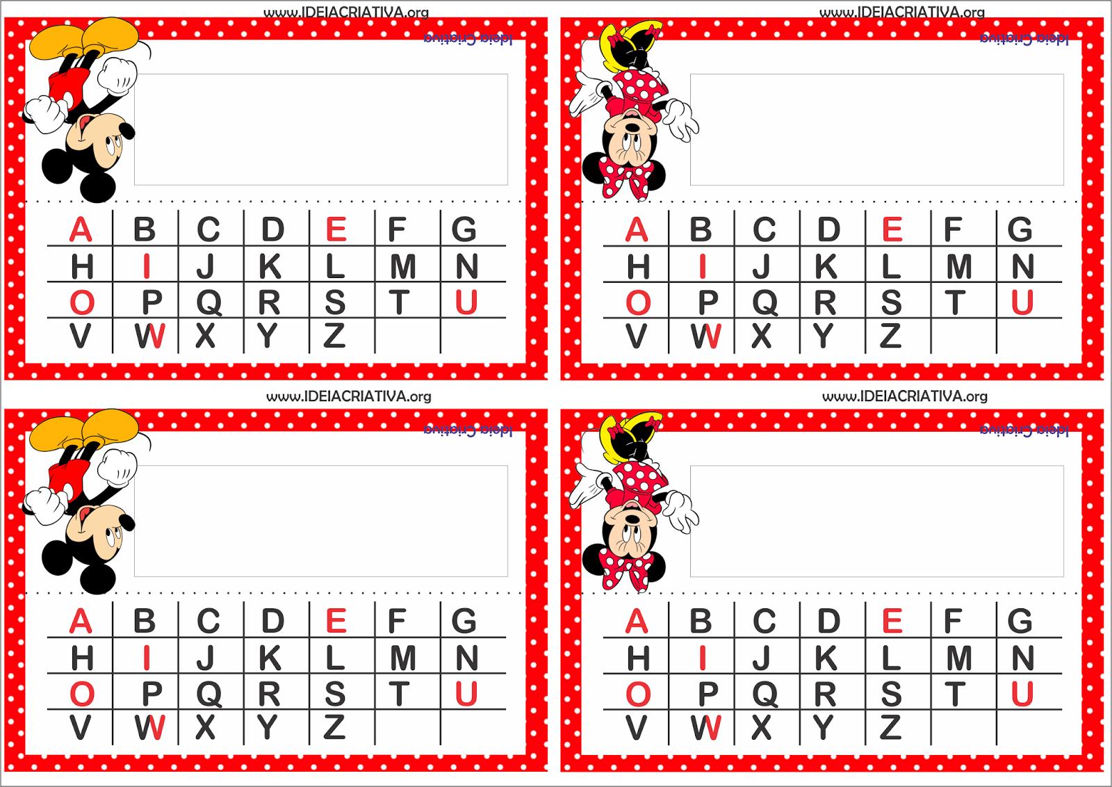 Amado Crachás para Mesa Mickey e Minnie com Alfabeto   crachás  SW91