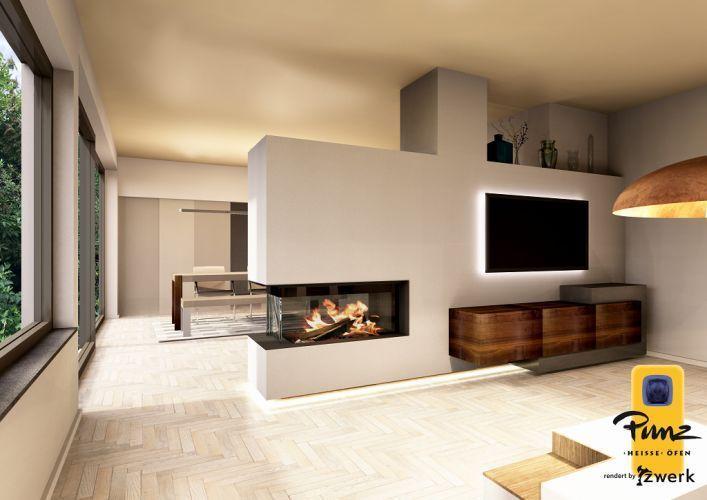 moderner Heizkamin, Raumteiler - 3 Seiten Glas - Wohnaccessoires #modernfireplaceideas