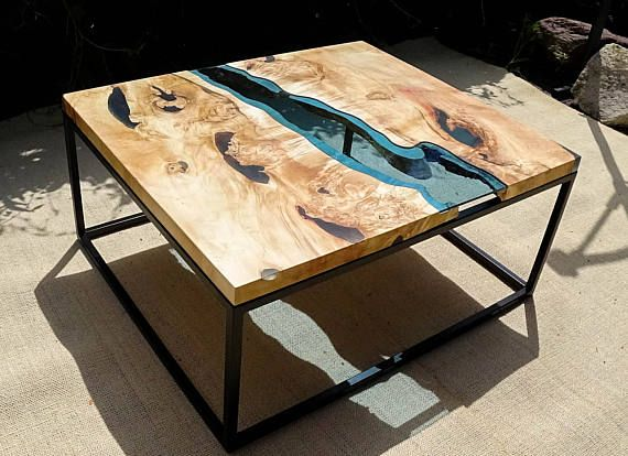 SOLD Live Edge River Coffee Table With Dark Blue Epoxy