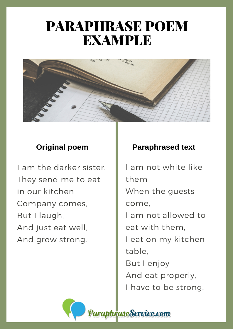 Get Paraphrase Poem Example By Following Thi Link Http Www Paraphraseservice Com How To A Paraphra Library Reference Of Sentence Paraphrasing