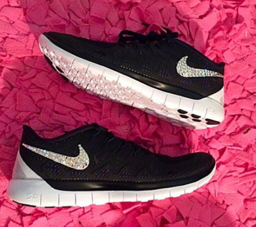 Rhinestone Nike Free 5.0 2014 Nike Free 5.0 Run Shoes Swarovski Crystal  Detail Coal Black White 9f916c23540b