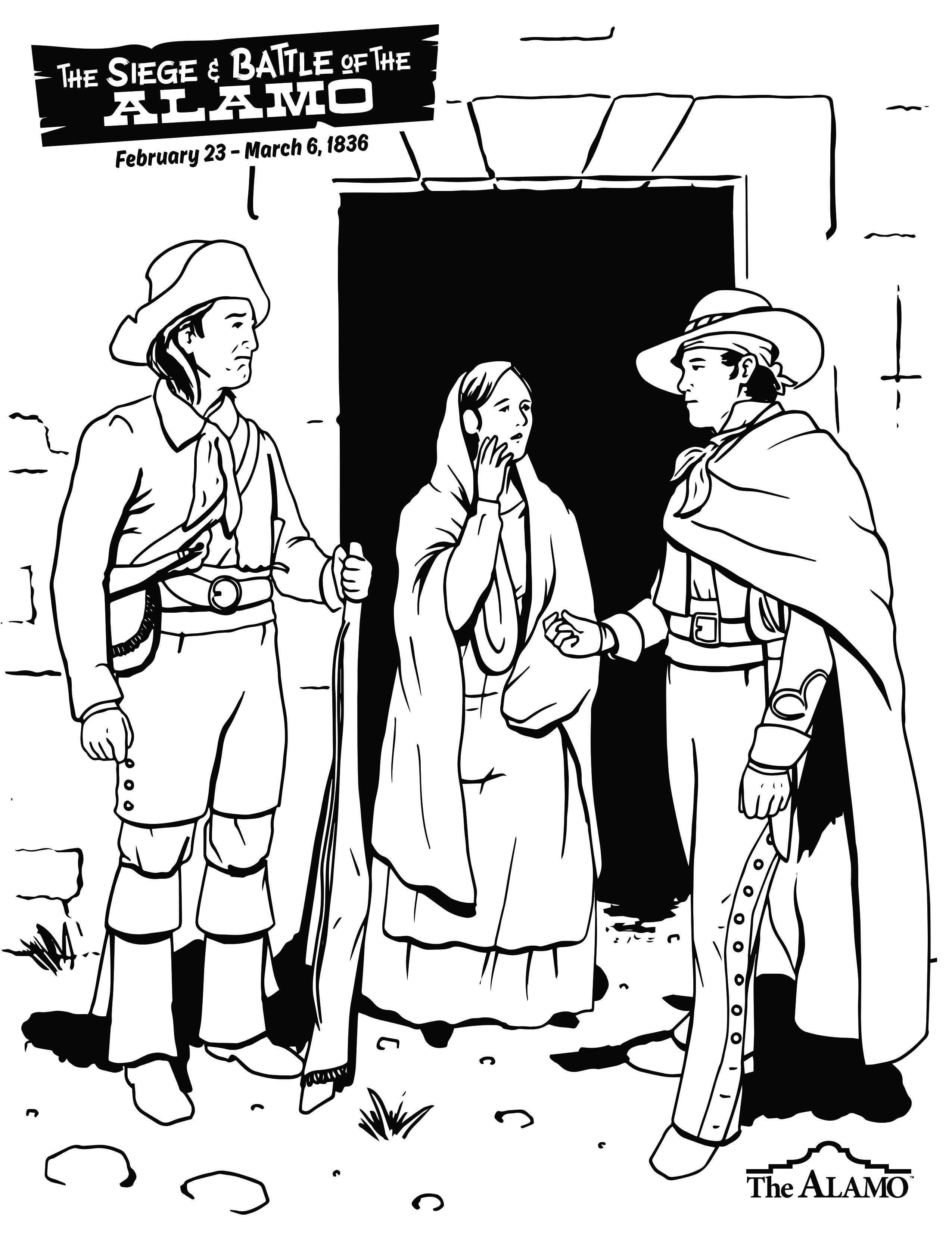 Alamo Defenders Coloring Pages Coloring For Kids Alamo