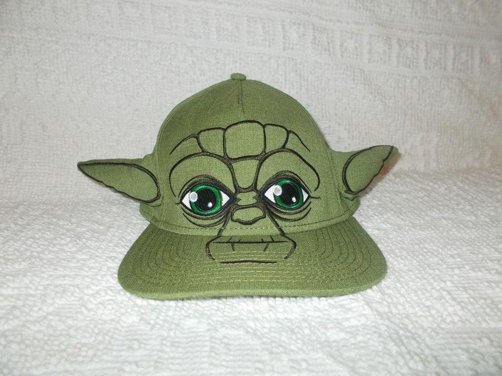 Star Wars Yoda Snapback Flatbill Green Baseball Hat Cap With 3-D Ears   Unbranded  BaseballCap 7a618d2e3847