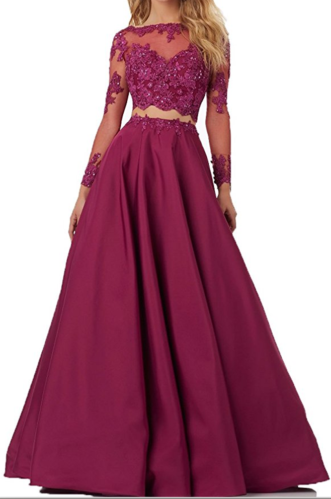 Two Piece Prom Dresses,Lace Bodice Prom Dress,Long Sleeve Prom ...
