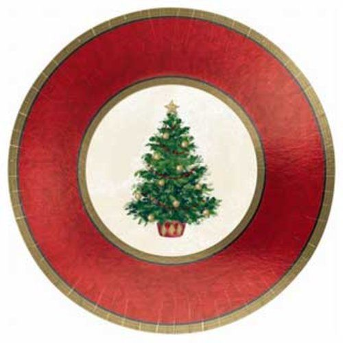 """Classic Christmas Tree 12"""" Dinner Plates 8 Count"""