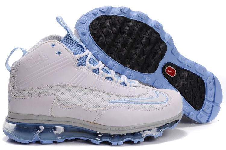 cheap for discount a1a9d b880b Nike Womens Griffeys Air Max Jr All White Blue Ken Griffey Shoes