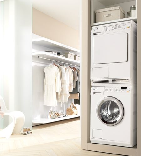 Miele White T8023 C Condenser Dryer Laundry Room Storage Stackable Washer Dryer Laundry Room