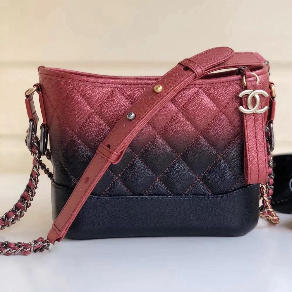53325fc64b0720 Chanel Two-tone Grained Calfskin Gabrielle Small Hobo Bag A91810 Red/Black  2018