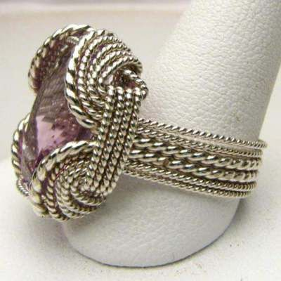 Hand Made Wire Wrap Amethyst Silver Ring 20x15mm 12+CT DAZZLING! NICE PURPLE NATURAL AMETHYST
