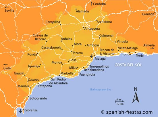 Holiday Map Of Spain.Costa Del Sol Map Maps Costa Del Travel Guide Map