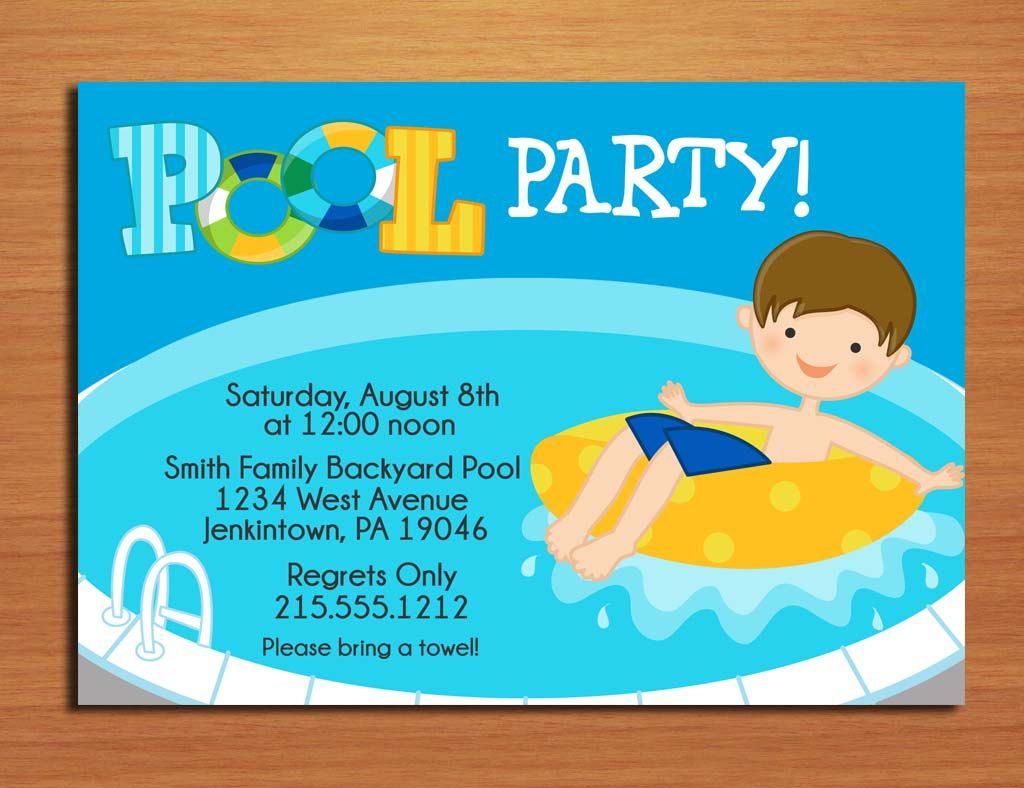 Cool Free Template Free Printable Pool Party Birthday Invitations