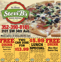 Stevi B S Lunch Drink Pizza Buffet Food Coupon