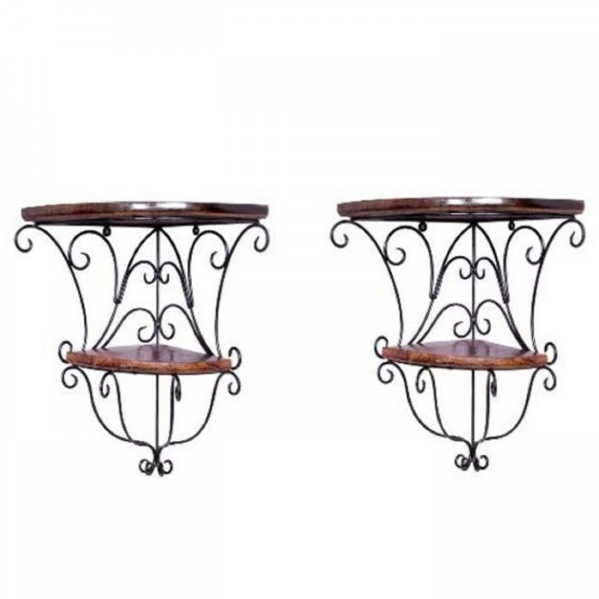 Onlineshoppee home decor wall hanging fancy double bracket wooden onlineshoppee home decor wall hanging fancy double bracket wooden iron wall shelf set of 2 wall shelves home decor home furniture amipublicfo Choice Image