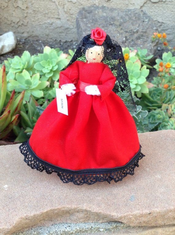 Spain clothespin doll, Spanish doll - red dress, flamenco dancer style dress, ready to ship #spanishdolls