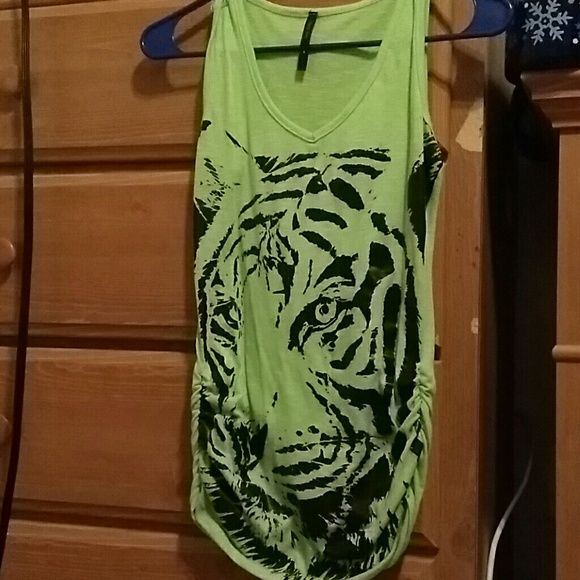 Tank top Lime green tank top with an image of a tiger on it Tops Tank Tops