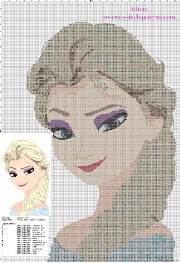 Super Point De Croix Reine Des Neiges grille point de croix tapisserie avec la reine des neiges princesse