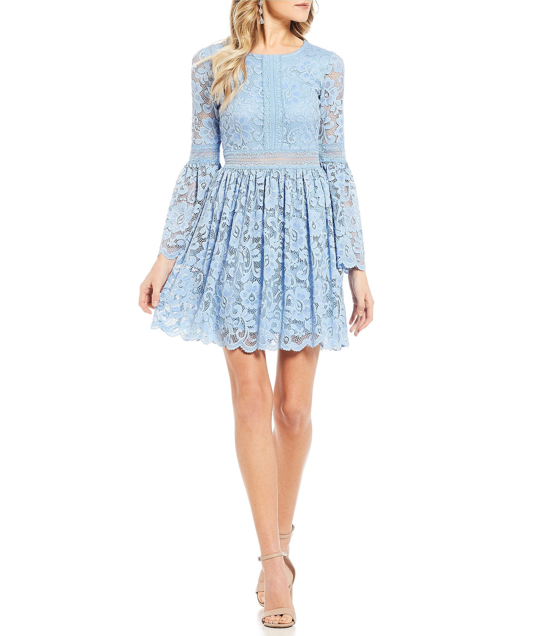 Sequin Hearts Bell Sleeve Lace Fitandflare Dress Dillards