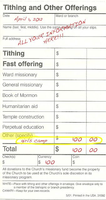 tithing slips | to pay please fill out a tithing slip as shown below