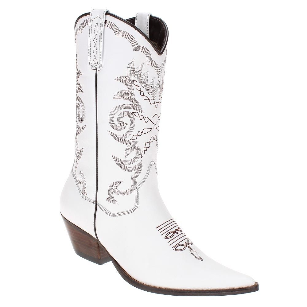 91236e767b Bota Texana Feminina Branca com Cano Longo - West Country 9429 ...