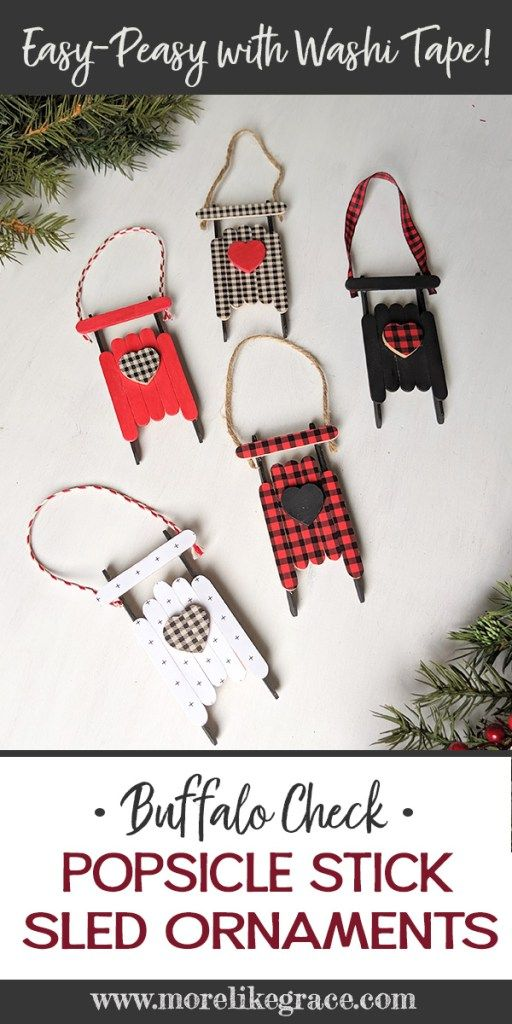 Photo of Popsicle Stick Sled Ornaments: With Plaid Washi Tape
