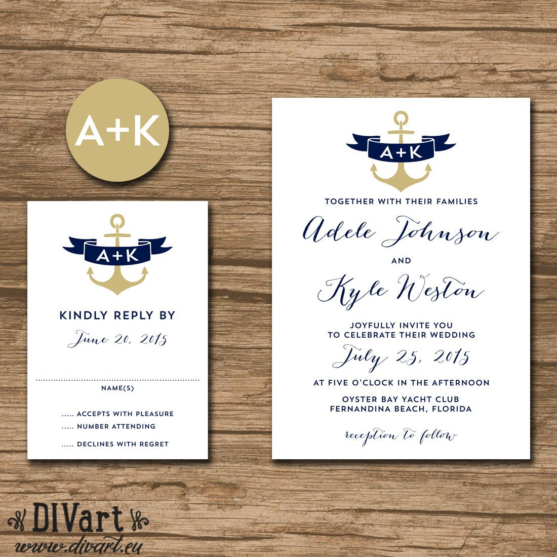 Nautical Wedding Invitation Suite, Response Card, Monogram - PRINTABLE files - anchor, nautical wedding, navy and gold - calligraphy - Adele by DIVart on Etsy