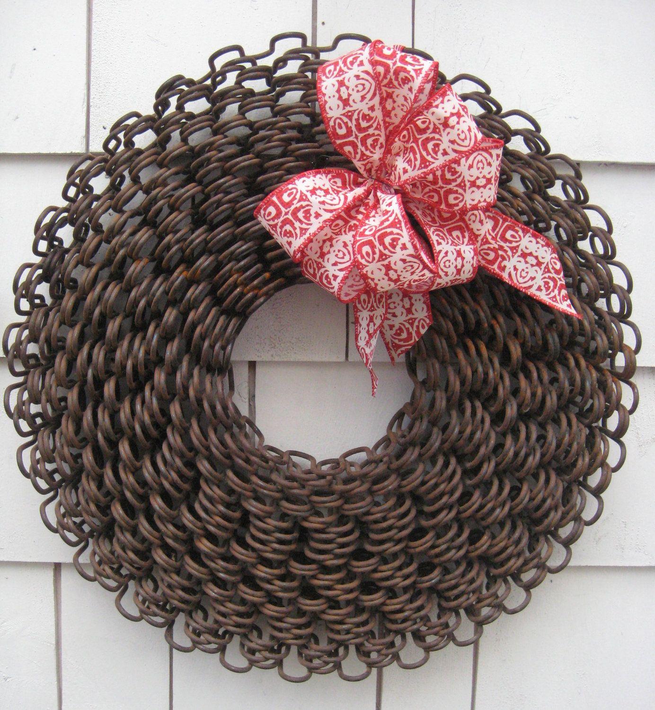 Unique Metal Christmas Wreath, Rustic, Primitive, Repurposed   For ...
