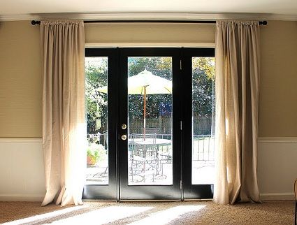 Black French Door Panel Curtains For More French Door Curtain