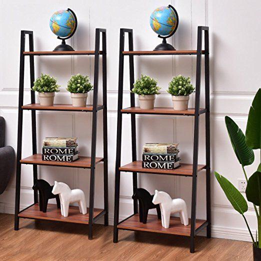 huge selection of f03cb 823a6 Amazon.com: Tangkula 4-Tier Ladder Shelf Ladder Bookcase ...