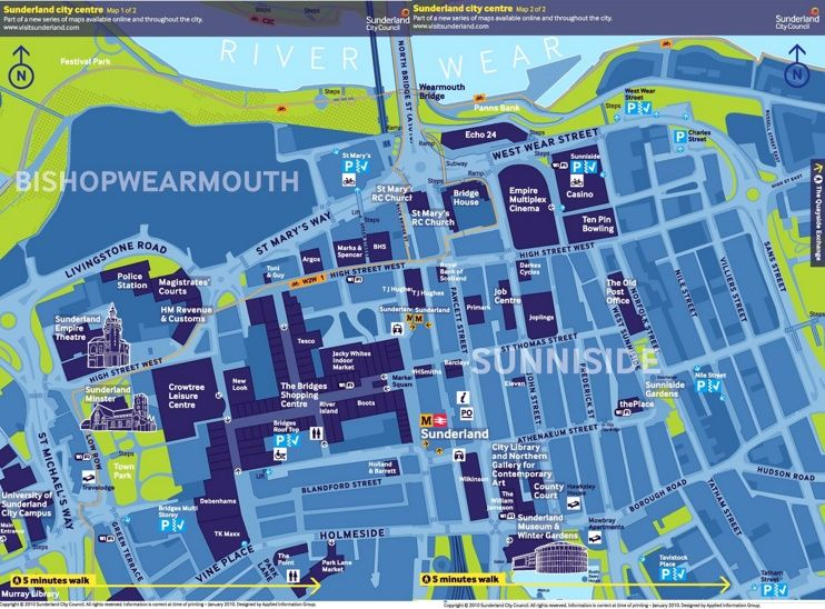 Sunderland city centre tourist map Maps Pinterest Tourist map