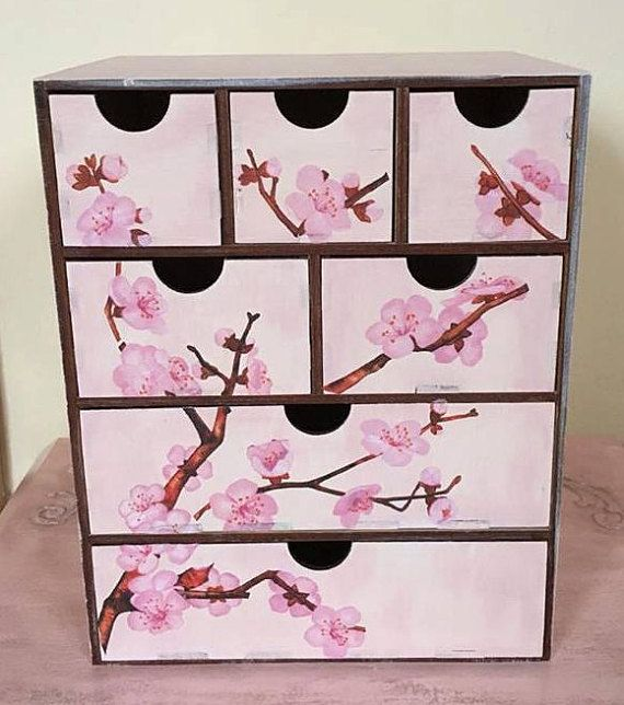 Cherry Blosssom Makeup Organizer Makeup Storage Decoupage Cherry Blossom Chest Of Drawers For Rings Makeup Brushes And Lipsticks Storage