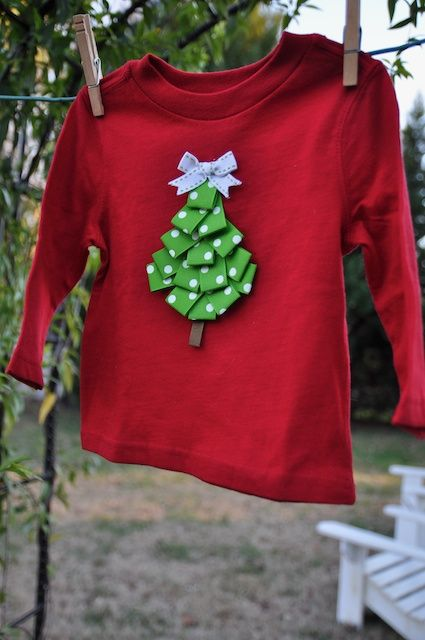 Ribbon Christmas Tree Shirt | Christmas sweaters, Diy