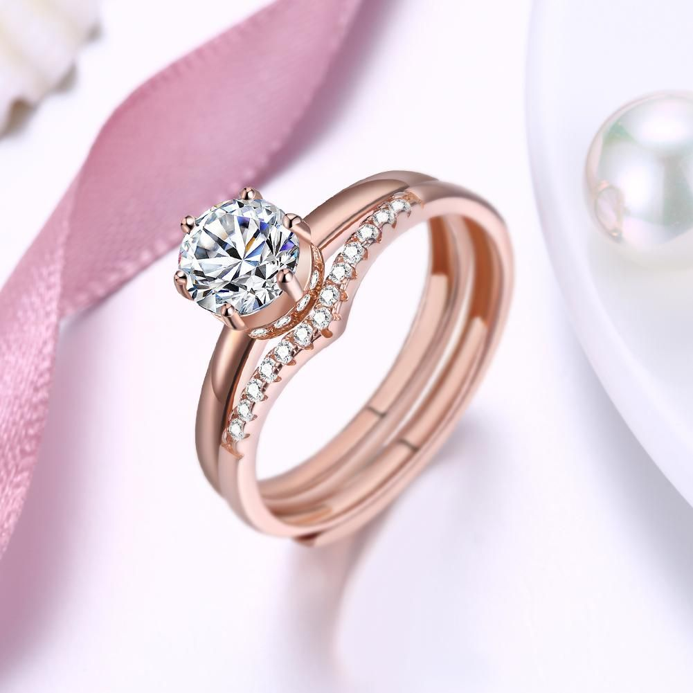 S925 Zircon Rose Gold Silver Ring | rings | Pinterest | Silver ring ...