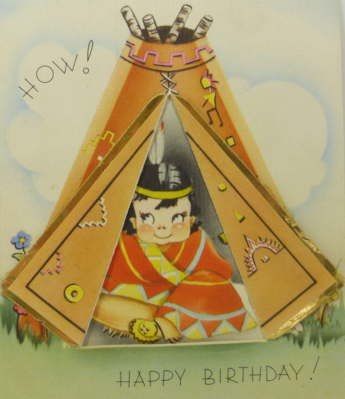 Antique Birthday Card Indian Boy In Tepee 1940s Ephemera