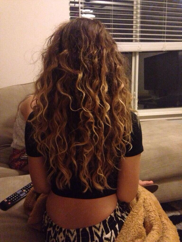 hair curly natural highlights brunette long
