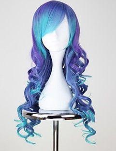 VOCALOID3 LUKA largo rizado azul y púrpura Anime Cosplay peluca